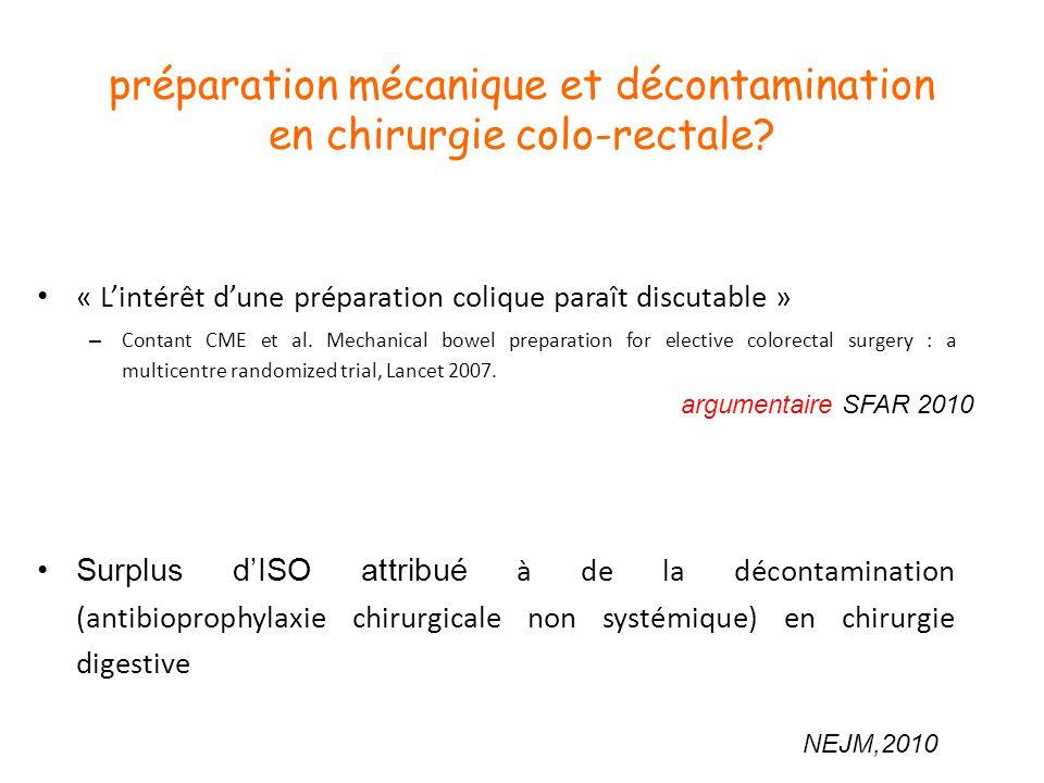 préparation mécanique et décontamination en chirurgie colo-rectale? « Lintérêt dune préparation colique paraît discutable » – Contant CME et al. Mecha