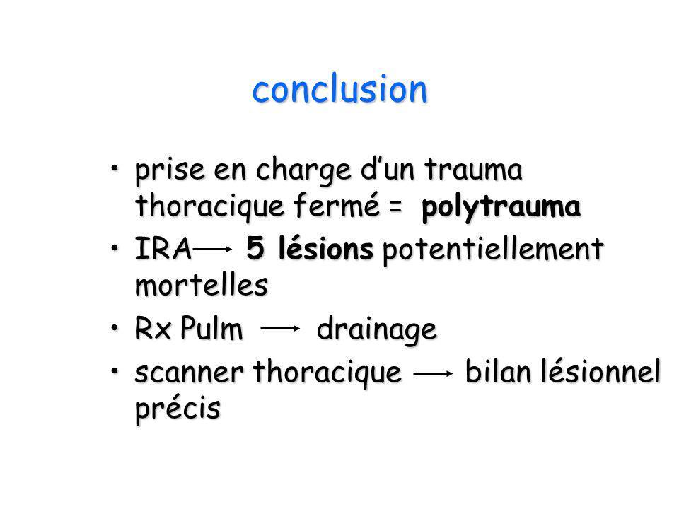 conclusion prise en charge dun trauma thoracique fermé = polytraumaprise en charge dun trauma thoracique fermé = polytrauma IRA 5 lésions potentiellem