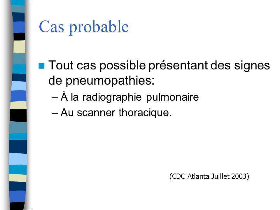 Cas probable Tout cas possible présentant des signes de pneumopathies: –À la radiographie pulmonaire –Au scanner thoracique. (CDC Atlanta Juillet 2003