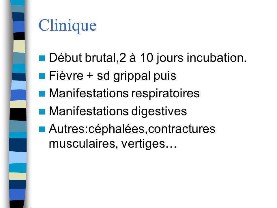 Clinique Début brutal,2 à 10 jours incubation. Fièvre + sd grippal puis Manifestations respiratoires Manifestations digestives Autres:céphalées,contra