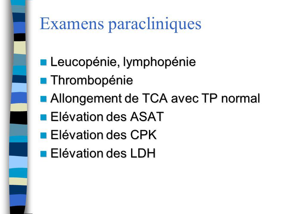 Examens paracliniques Leucopénie, lymphopénie Leucopénie, lymphopénie Thrombopénie Thrombopénie Allongement de TCA avec TP normal Allongement de TCA a