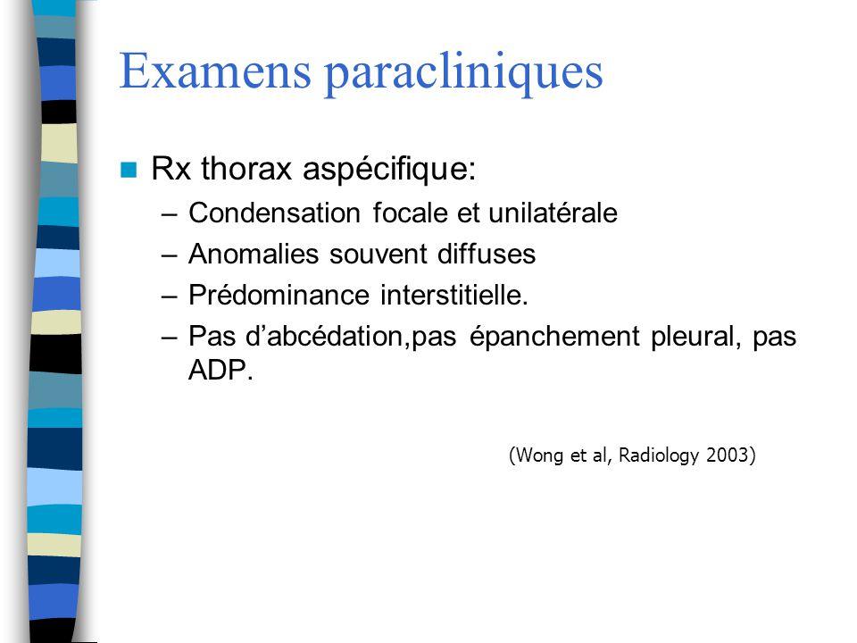 Examens paracliniques Rx thorax aspécifique: –Condensation focale et unilatérale –Anomalies souvent diffuses –Prédominance interstitielle. –Pas dabcéd