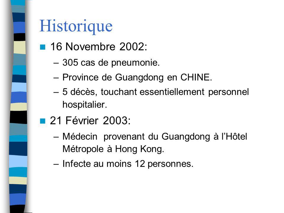 Historique 16 Novembre 2002: –305 cas de pneumonie. –Province de Guangdong en CHINE. –5 décès, touchant essentiellement personnel hospitalier. 21 Févr