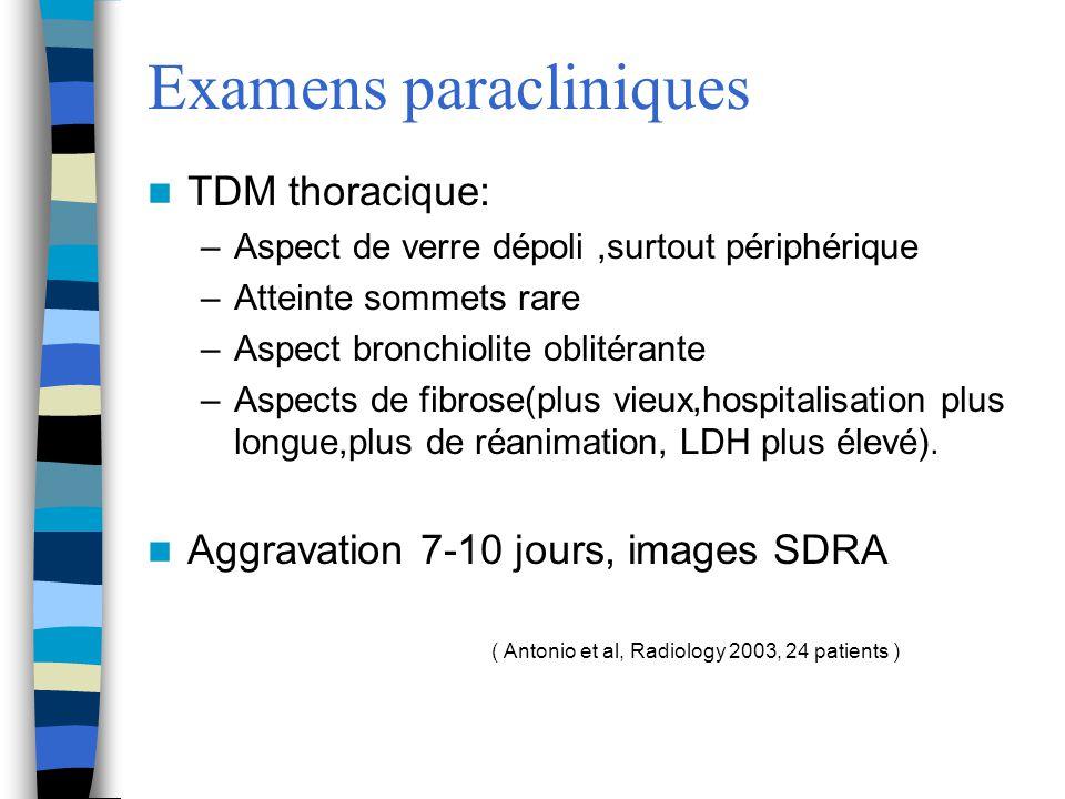 Examens paracliniques TDM thoracique: –Aspect de verre dépoli,surtout périphérique –Atteinte sommets rare –Aspect bronchiolite oblitérante –Aspects de