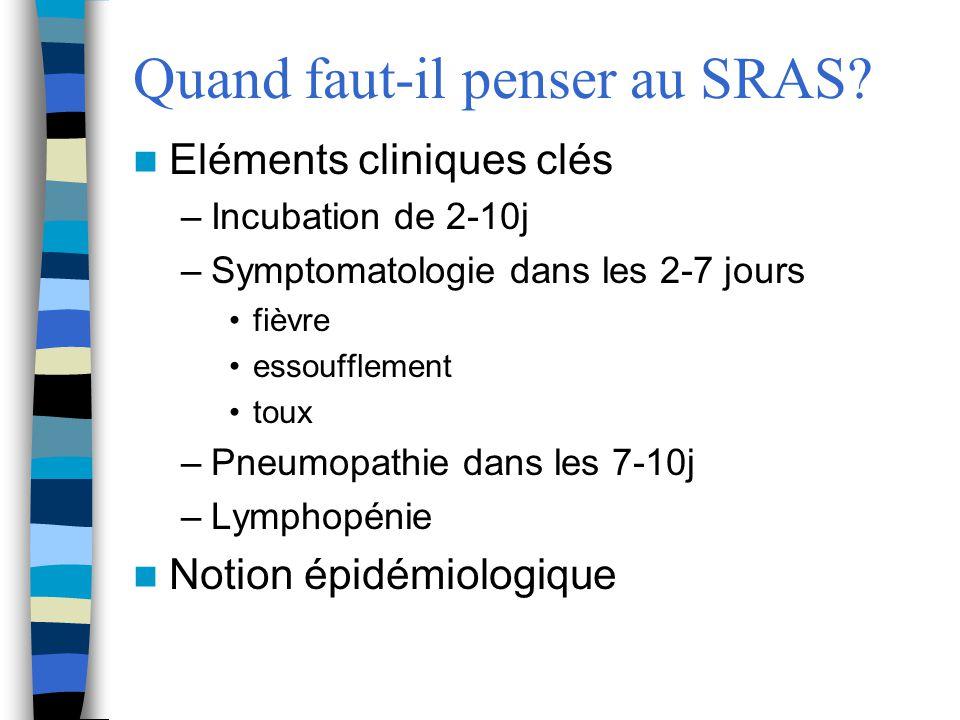 Quand faut-il penser au SRAS? Eléments cliniques clés –Incubation de 2-10j –Symptomatologie dans les 2-7 jours fièvre essoufflement toux –Pneumopathie