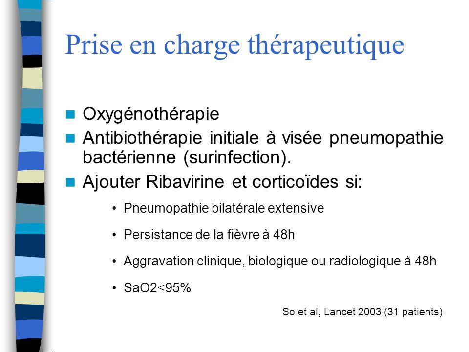 Oxygénothérapie Antibiothérapie initiale à visée pneumopathie bactérienne (surinfection). Ajouter Ribavirine et corticoïdes si: Pneumopathie bilatéral