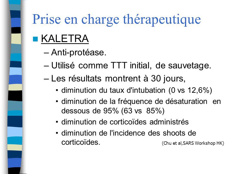 Prise en charge thérapeutique KALETRA –Anti-protéase. –Utilisé comme TTT initial, de sauvetage. –Les résultats montrent à 30 jours, diminution du taux