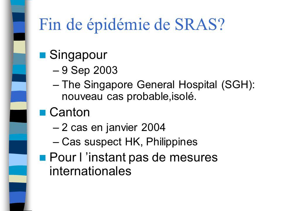 Fin de épidémie de SRAS? Singapour –9 Sep 2003 –The Singapore General Hospital (SGH): nouveau cas probable,isolé. Canton –2 cas en janvier 2004 –Cas s