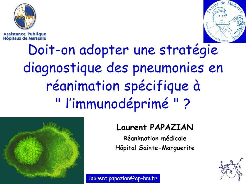 Doit-on adopter une stratégie diagnostique des pneumonies en réanimation spécifique à limmunodéprimé .