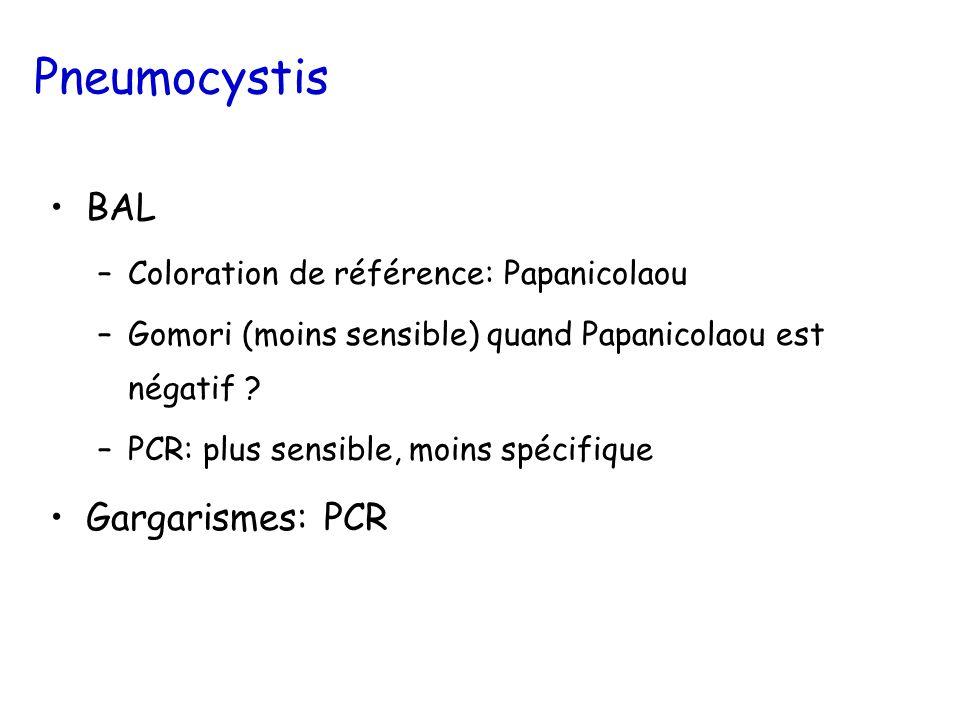 Pneumocystis BAL –Coloration de référence: Papanicolaou –Gomori (moins sensible) quand Papanicolaou est négatif .