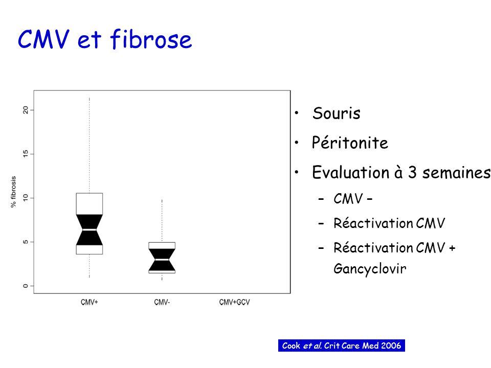 CMV et fibrose Souris Péritonite Evaluation à 3 semaines –CMV – –Réactivation CMV –Réactivation CMV + Gancyclovir Cook et al.
