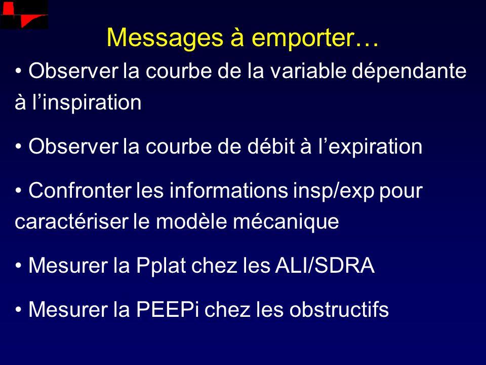 Messages à emporter… Observer la courbe de la variable dépendante à linspiration Observer la courbe de débit à lexpiration Confronter les informations
