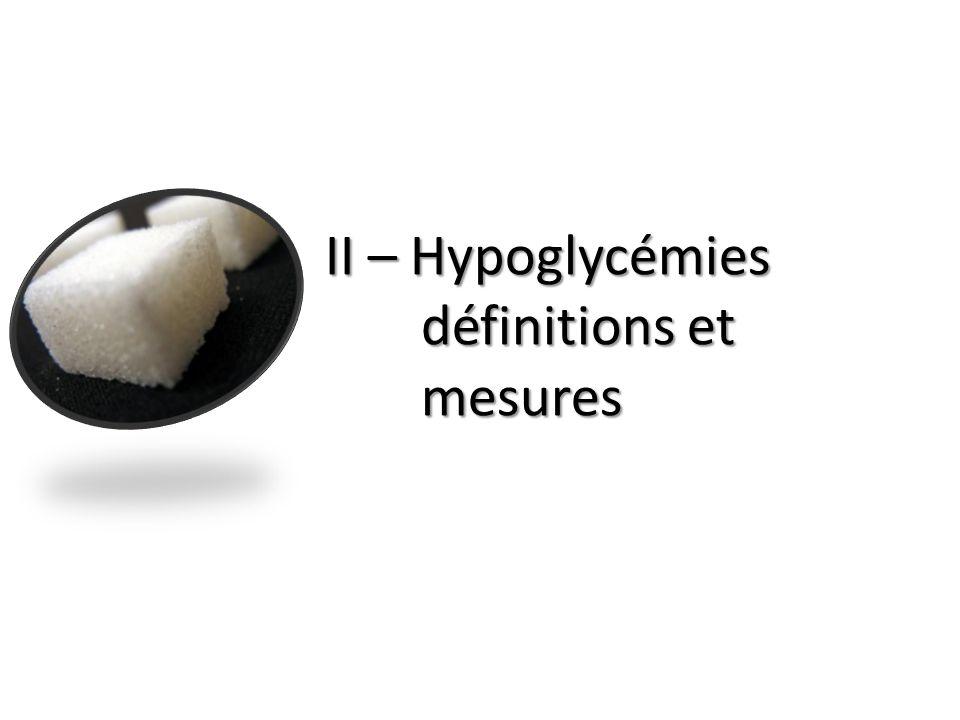 II – Hypoglycémies définitions et mesures