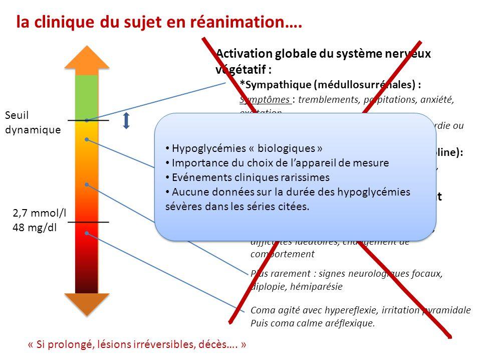 Activation globale du système nerveux végétatif : *Sympathique (médullosurrénales) : Symptômes : tremblements, palpitations, anxiété, excitation Signe
