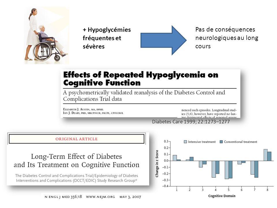 + Hypoglycémies fréquentes et sévères Pas de conséquences neurologiques au long cours Diabetes Care 1999; 22:1273–1277