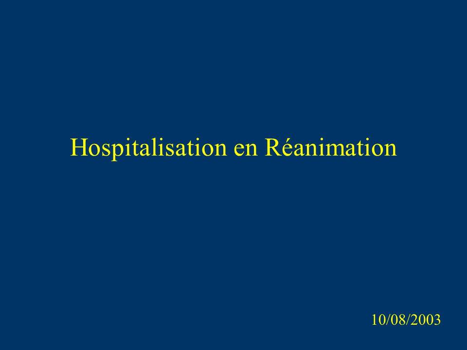 Hospitalisation en Réanimation 10/08/2003