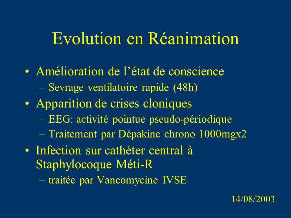 Evolution en Réanimation Amélioration de létat de conscience –Sevrage ventilatoire rapide (48h) Apparition de crises cloniques –EEG: activité pointue