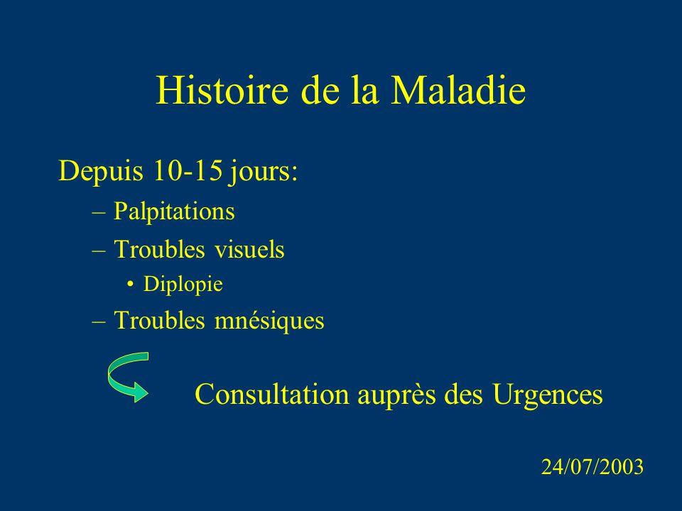 Histoire de la Maladie Depuis 10-15 jours: –Palpitations –Troubles visuels Diplopie –Troubles mnésiques Consultation auprès des Urgences 24/07/2003