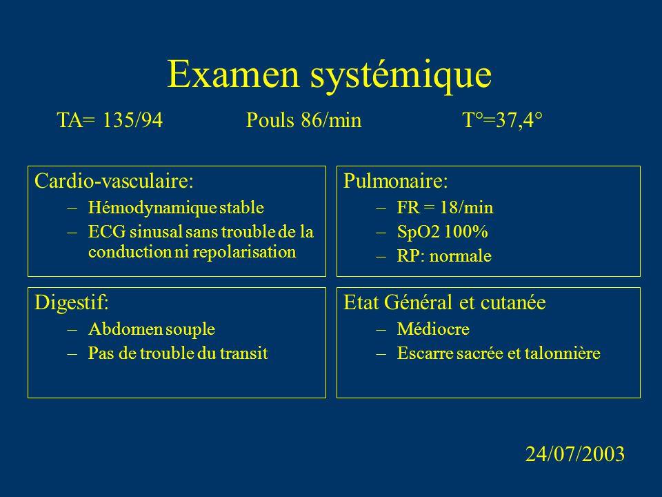 Examen systémique TA= 135/94 Pouls 86/min T°=37,4° Etat Général et cutanée –Médiocre –Escarre sacrée et talonnière Cardio-vasculaire: –Hémodynamique s
