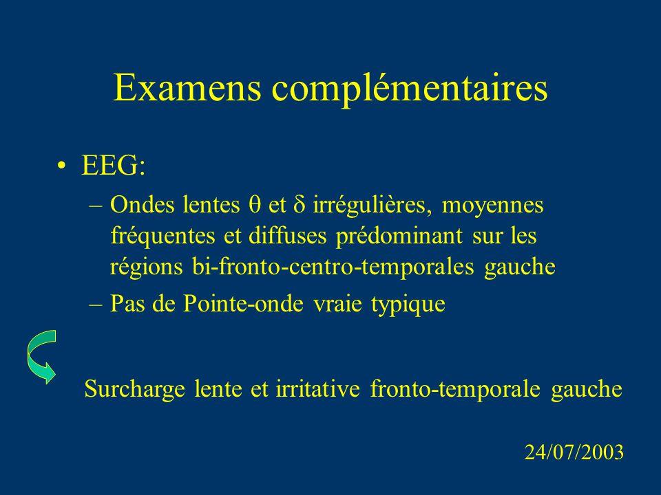 Examens complémentaires EEG: –Ondes lentes et irrégulières, moyennes fréquentes et diffuses prédominant sur les régions bi-fronto-centro-temporales ga
