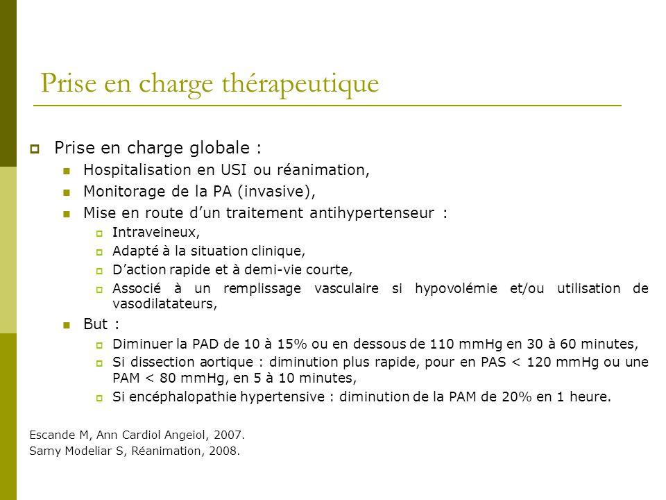 Prise en charge thérapeutique Prise en charge globale : Hospitalisation en USI ou réanimation, Monitorage de la PA (invasive), Mise en route dun trait