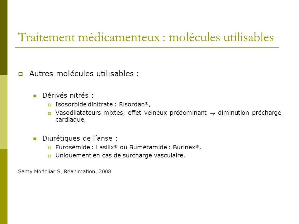 Traitement médicamenteux : molécules utilisables Autres molécules utilisables : Dérivés nitrés : Isosorbide dinitrate : Risordan ®, Vasodilatateurs mi