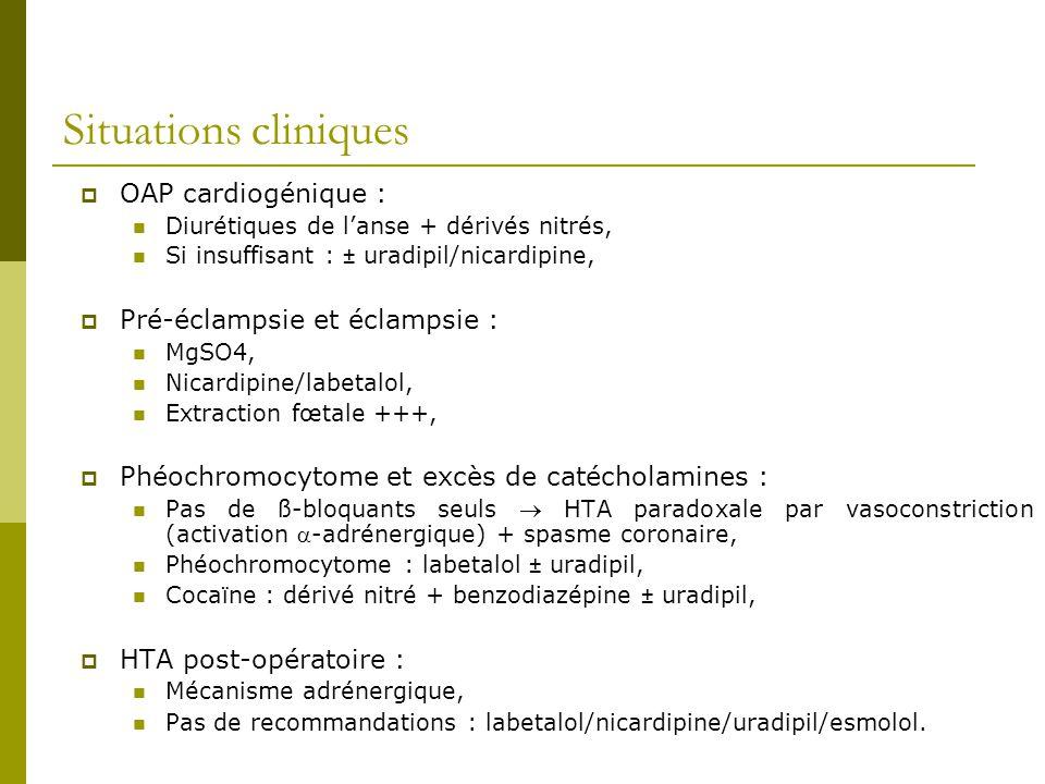 Situations cliniques OAP cardiogénique : Diurétiques de lanse + dérivés nitrés, Si insuffisant : ± uradipil/nicardipine, Pré-éclampsie et éclampsie :