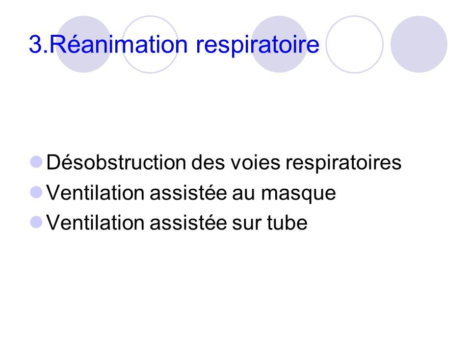 3.Réanimation respiratoire Désobstruction des voies respiratoires Ventilation assistée au masque Ventilation assistée sur tube