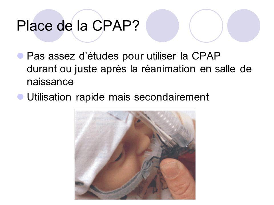Place de la CPAP? Pas assez détudes pour utiliser la CPAP durant ou juste après la réanimation en salle de naissance Utilisation rapide mais secondair