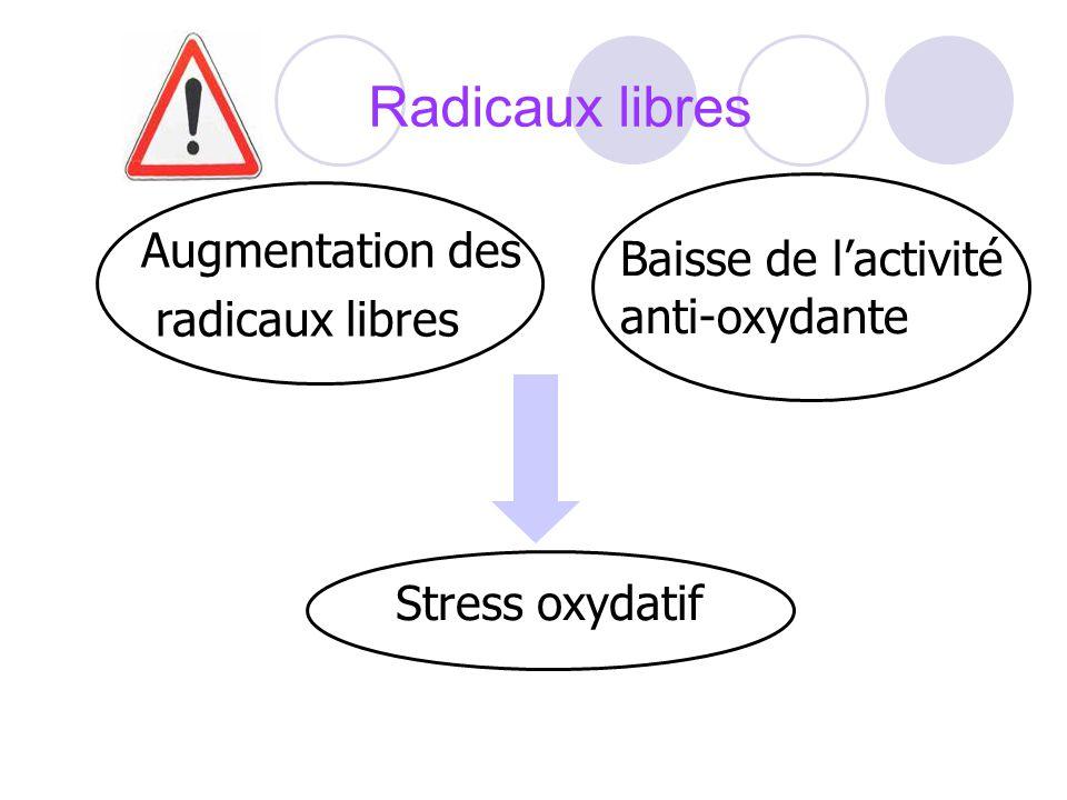Radicaux libres Augmentation des radicaux libres Baisse de lactivité anti-oxydante Stress oxydatif