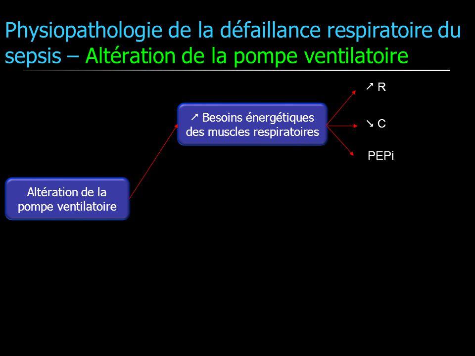 Altération de la pompe ventilatoire Besoins énergétiques des muscles respiratoires R C PEPi Physiopathologie de la défaillance respiratoire du sepsis