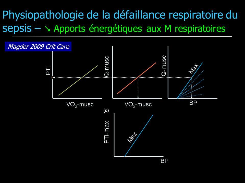 Magder 2009 Crit Care Physiopathologie de la défaillance respiratoire du sepsis – Apports énergétiques aux M respiratoires