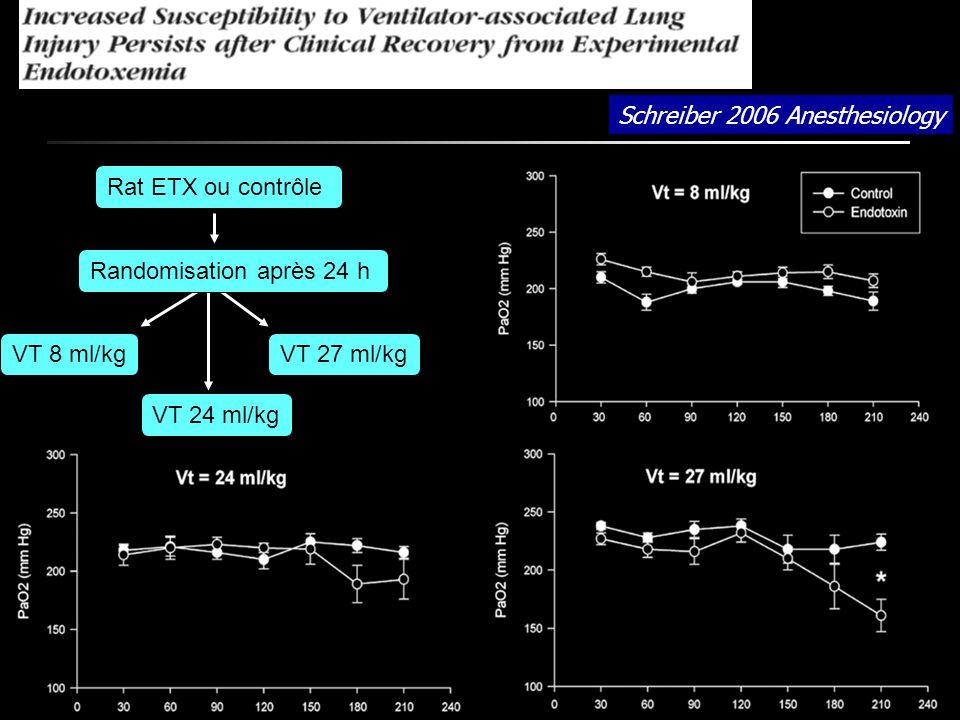 Schreiber 2006 Anesthesiology Rat ETX ou contrôle Randomisation après 24 h VT 8 ml/kg VT 24 ml/kg VT 27 ml/kg