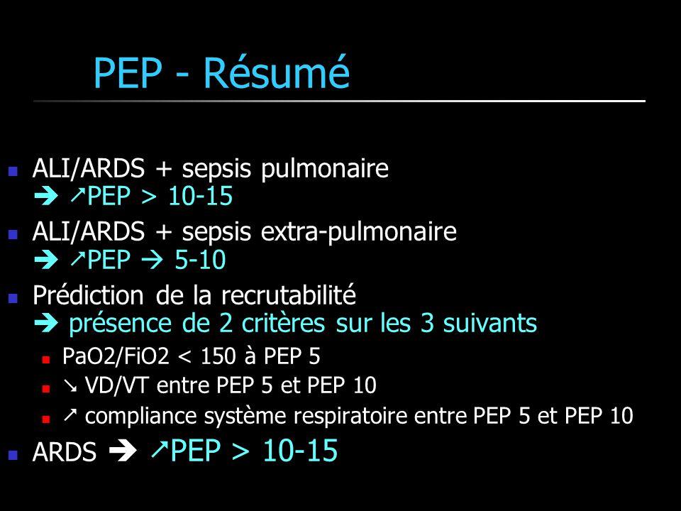 PEP - Résumé ALI/ARDS + sepsis pulmonaire PEP > 10-15 ALI/ARDS + sepsis extra-pulmonaire PEP 5-10 Prédiction de la recrutabilité présence de 2 critère
