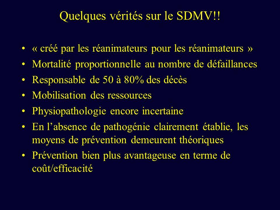Quelques vérités sur le SDMV!! « créé par les réanimateurs pour les réanimateurs »« créé par les réanimateurs pour les réanimateurs » Mortalité propor