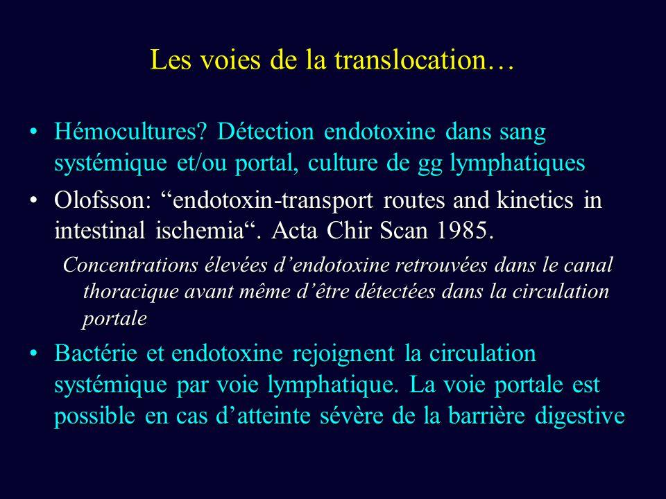 Les voies de la translocation… Hémocultures? Détection endotoxine dans sang systémique et/ou portal, culture de gg lymphatiquesHémocultures? Détection