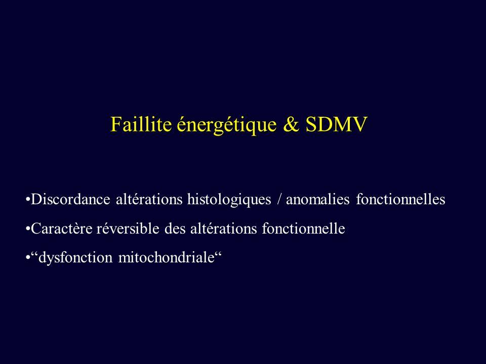 Faillite énergétique & SDMV Discordance altérations histologiques / anomalies fonctionnelles Caractère réversible des altérations fonctionnelle dysfon