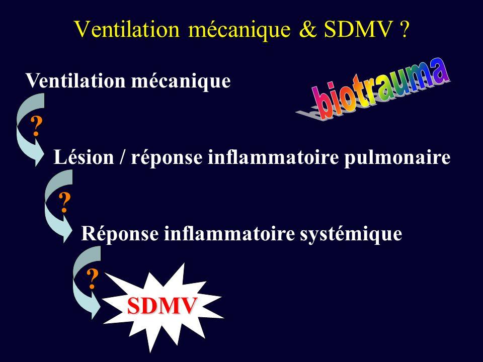 Ventilation mécanique & SDMV ? Ventilation mécanique Lésion / réponse inflammatoire pulmonaire Réponse inflammatoire systémique SDMV ? ? ?