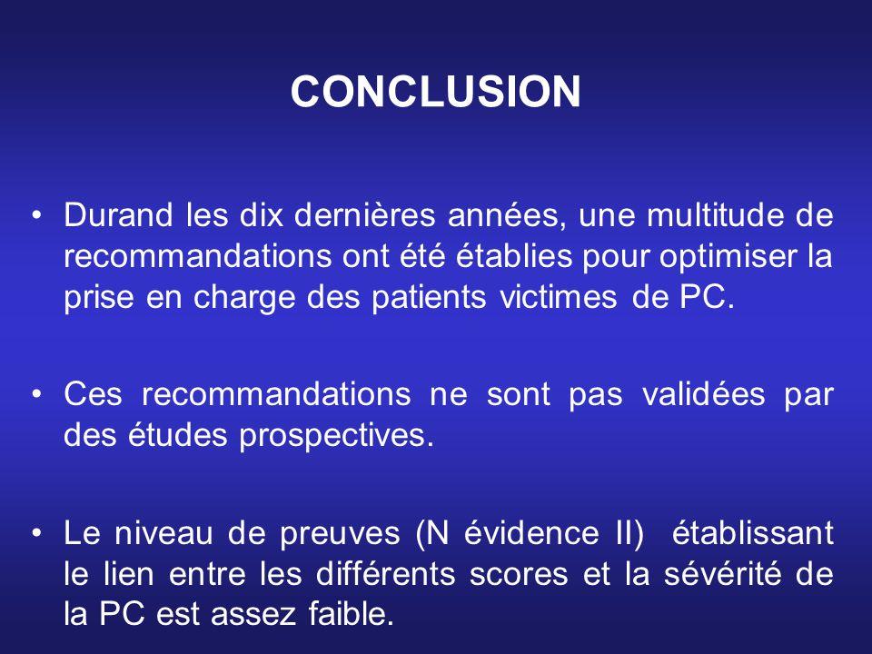 CONCLUSION Durand les dix dernières années, une multitude de recommandations ont été établies pour optimiser la prise en charge des patients victimes