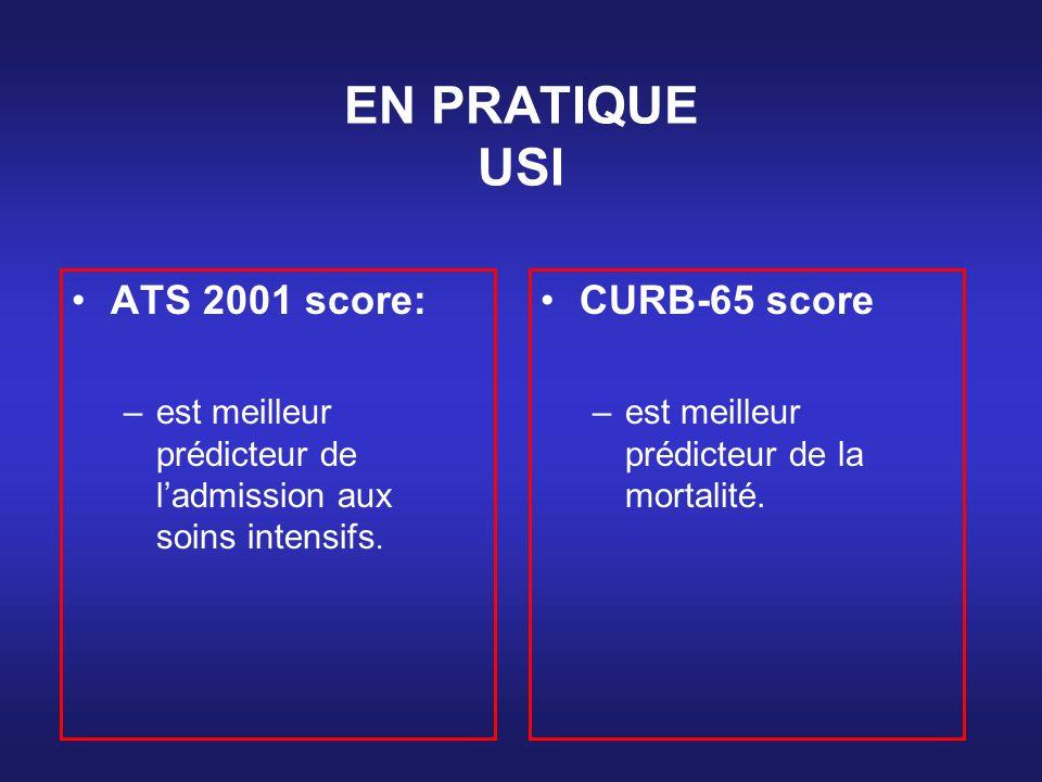 EN PRATIQUE USI ATS 2001 score: –est meilleur prédicteur de ladmission aux soins intensifs. CURB-65 score –est meilleur prédicteur de la mortalité.