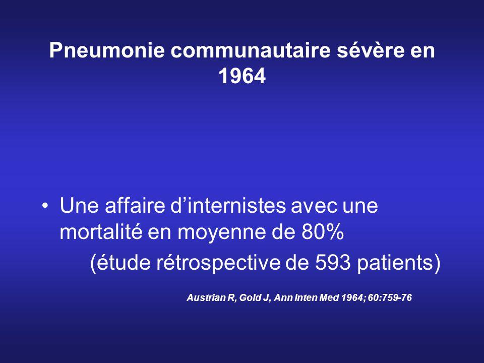 Pneumonie communautaire sévère en 1964 Une affaire dinternistes avec une mortalité en moyenne de 80% (étude rétrospective de 593 patients) Austrian R,