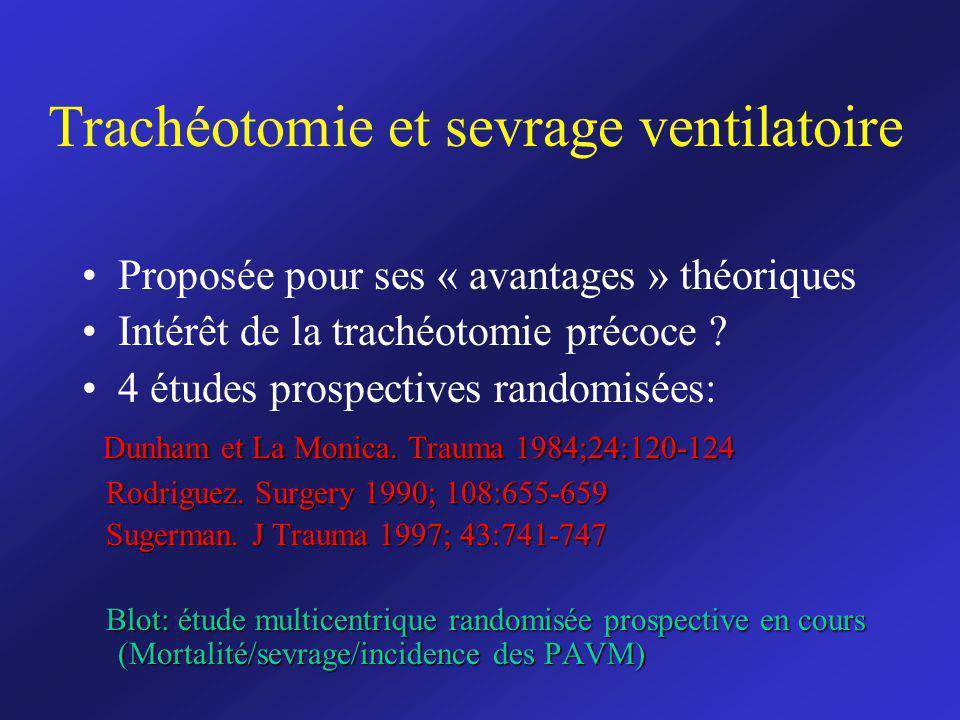 Trachéotomie et sevrage ventilatoire Proposée pour ses « avantages » théoriques Intérêt de la trachéotomie précoce ? 4 études prospectives randomisées