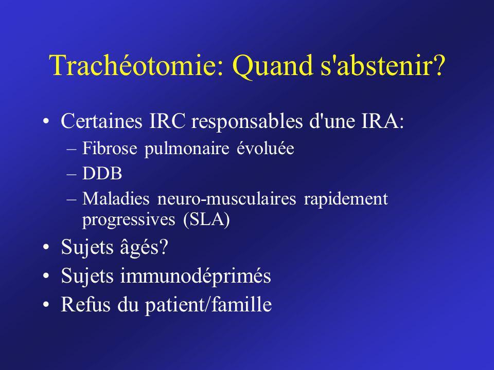 Trachéotomie: Quand s'abstenir? Certaines IRC responsables d'une IRA: –Fibrose pulmonaire évoluée –DDB –Maladies neuro-musculaires rapidement progress
