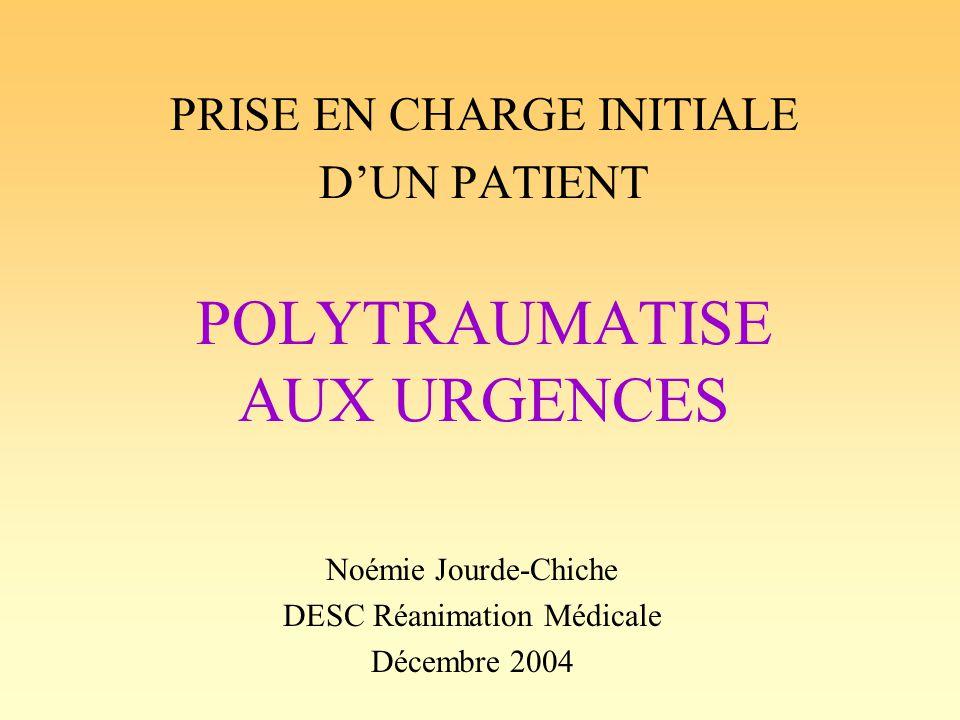 Introduction Polytraumatisé: –plusieurs lésions traumatiques –mise en jeu du pronostic vital à court terme >10 000 morts/an en France (jeunes: n°1) –50% sur les lieux de laccident –30% dans les 1ères heures –20% dans les jours ou semaines suivants Séquelles fonctionnelles