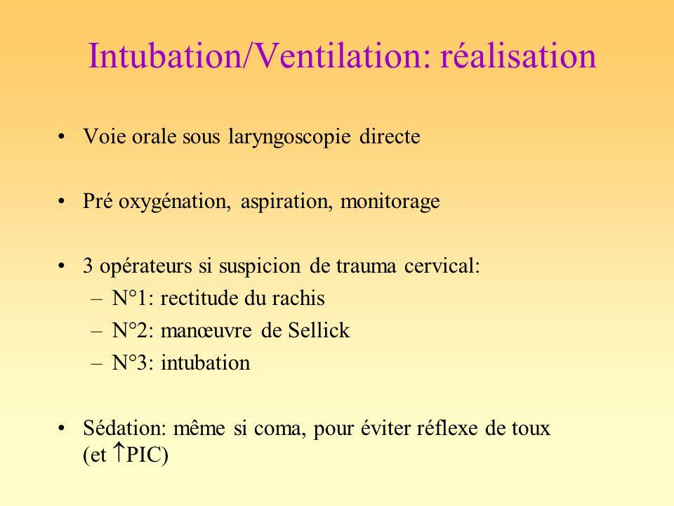 Intubation/Ventilation: réalisation Voie orale sous laryngoscopie directe Pré oxygénation, aspiration, monitorage 3 opérateurs si suspicion de trauma