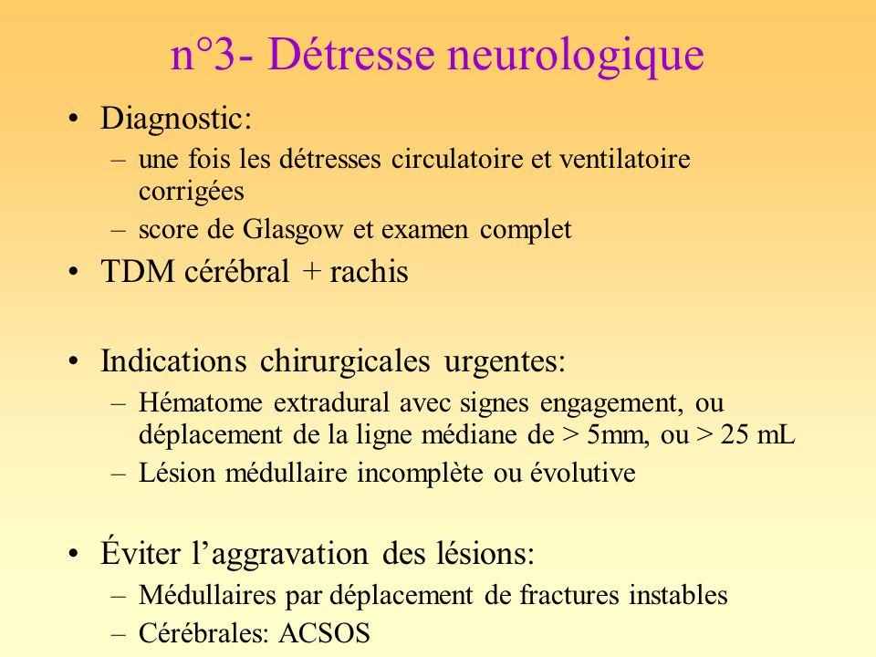 n°3- Détresse neurologique Diagnostic: –une fois les détresses circulatoire et ventilatoire corrigées –score de Glasgow et examen complet TDM cérébral