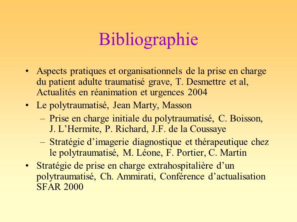 Bibliographie Aspects pratiques et organisationnels de la prise en charge du patient adulte traumatisé grave, T. Desmettre et al, Actualités en réanim