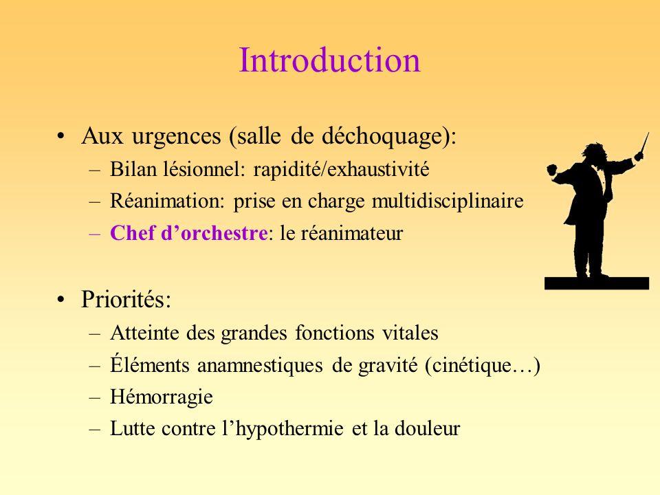 Introduction Aux urgences (salle de déchoquage): –Bilan lésionnel: rapidité/exhaustivité –Réanimation: prise en charge multidisciplinaire –Chef dorche