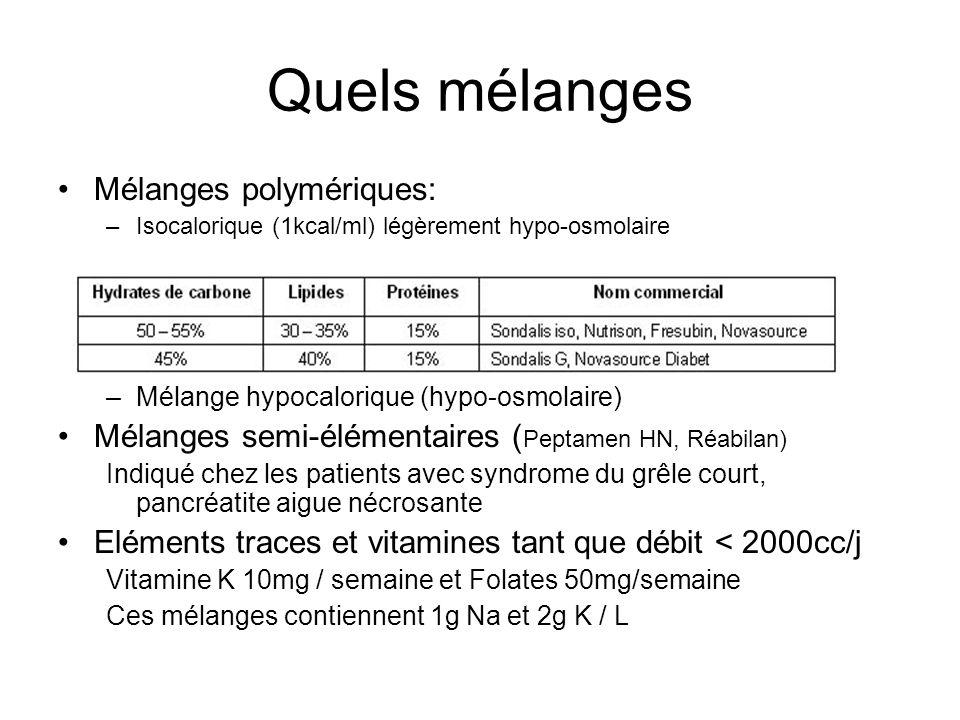 Quels mélanges Mélanges polymériques: –Isocalorique (1kcal/ml) légèrement hypo-osmolaire –Mélange hypercalorique hyperprotidique (hyperosmolaire) –Mélange hypocalorique (hypo-osmolaire) Mélanges semi-élémentaires ( Peptamen HN, Réabilan) Indiqué chez les patients avec syndrome du grêle court, pancréatite aigue nécrosante Eléments traces et vitamines tant que débit < 2000cc/j Vitamine K 10mg / semaine et Folates 50mg/semaine Ces mélanges contiennent 1g Na et 2g K / L