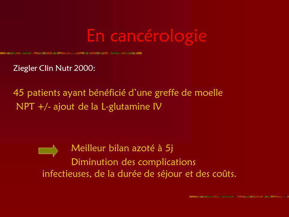 En cancérologie Ziegler Clin Nutr 2000: 45 patients ayant bénéficié dune greffe de moelle NPT +/- ajout de la L-glutamine IV Meilleur bilan azoté à 5j Diminution des complications infectieuses, de la durée de séjour et des coûts.